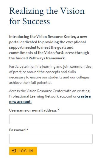 Vision Resource Center login page