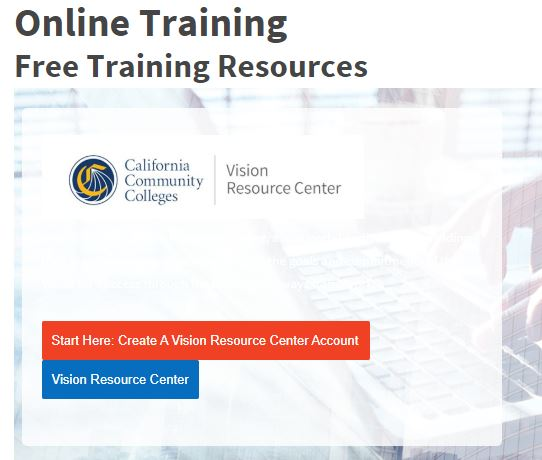 online training vision resource page