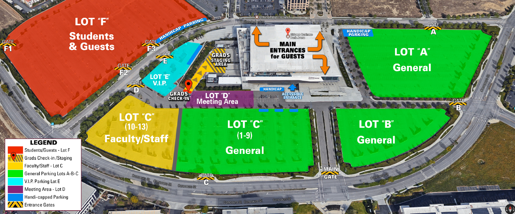 A map of the CBBA parking lots. Guest entrance is east of the building. Students and Faculty meet on the west of the building. Students park in Lot F.