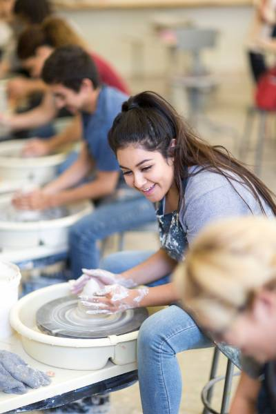 A student takes a ceramics class at Mt. SAC.