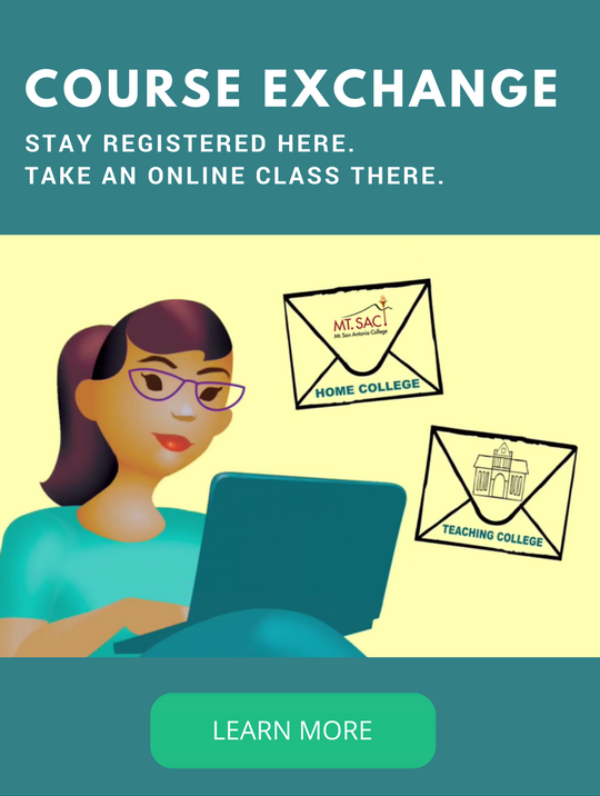 Woman on Laptop with text overlay saying Course Exchange, stay registered here, take an online class there, learn more