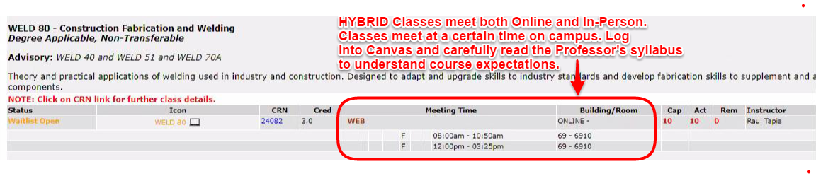 Image 2: Hybrid classes meet both online and in-person. The Building/Room will show ONLINE as well as a location. The Meeting Time will show a set date/time as well as WEB.