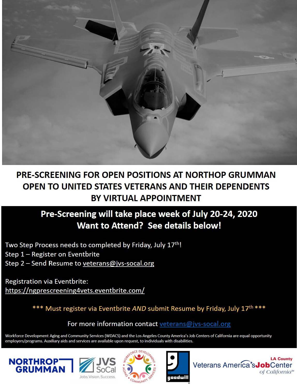 Northrop Grumman is seeking to hire veterans and their dependents.