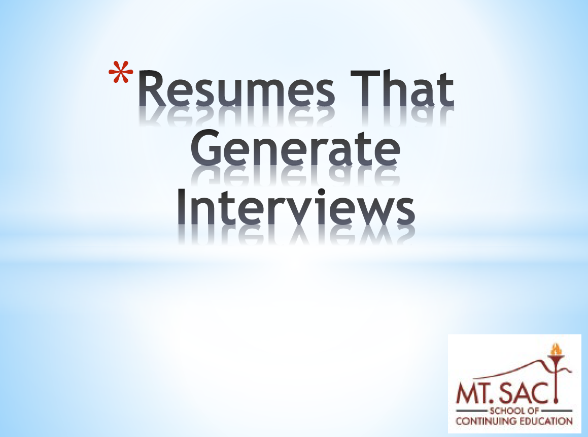 Resumes PPT Image