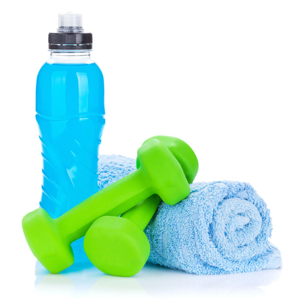 Sports Bottle, Towel, and Free Weights